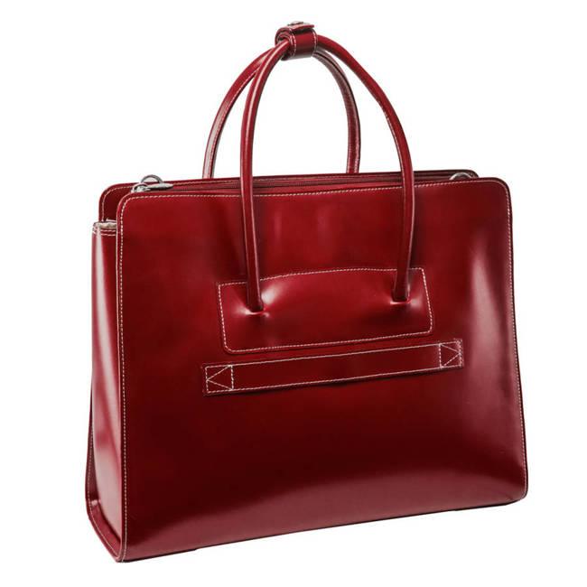 """Skórzana teczka damska Mcklein Lake Forest 94336 na laptopa 15,4"""" czerwona"""