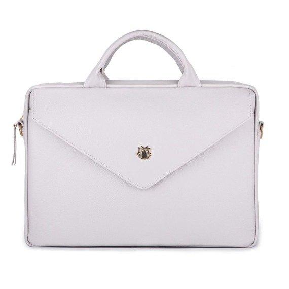 Skórzana torba aktówka damska na laptopa FELICE jasnoszara