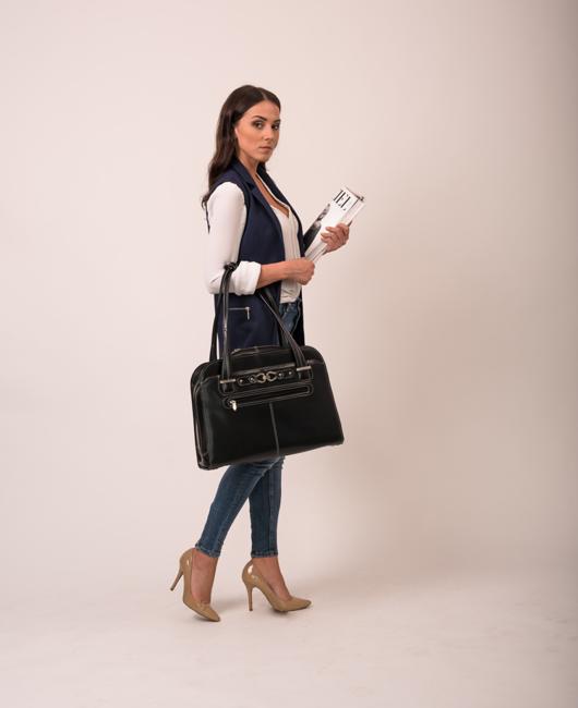 "Skórzana torba damska na laptopa 15,4"" Mcklein Oak Grove czarna"