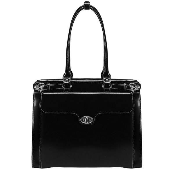 """Skórzana torba damska na laptopa 15,4"""" Mcklein Winnetka 94835 czarna"""