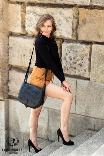 Skórzana torba listonoszka damska vintage PAOLO PERUZZI GA301 czarna