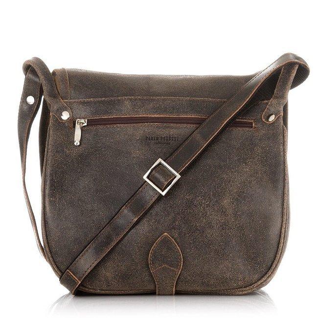 Skórzana torba listonoszka damska vintage PAOLO PERUZZI GA301 j.brązowa
