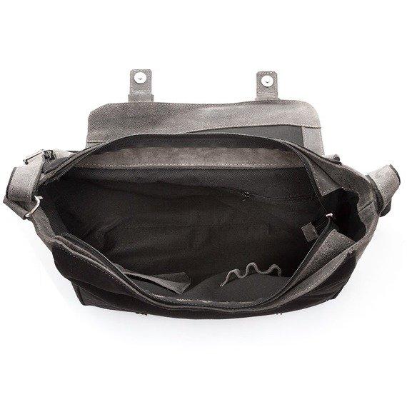 Skórzana torba męska Paolo Peruzzi Adventure GA133 czarno-jasnobrązowa
