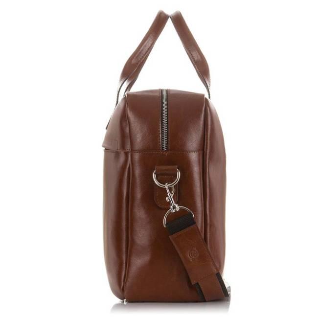 Skórzana torba męska na laptopa 17' BRODRENE R03XL jasnobrązowa