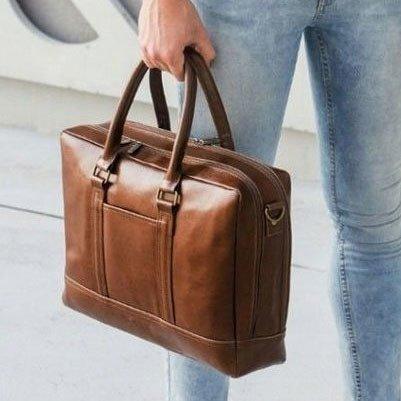 Skórzana torba męska na laptopa Solier brązowy vintage
