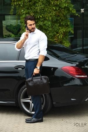 Skórzana torba męska na laptopa Solier ciemnobrązowa