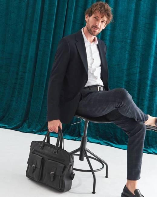 Skórzana torba męska na laptopa czarna Badura B-LAP-15602-NDM-6536