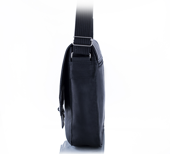Skórzana torba męska na ramię BALEINE S1 czarna