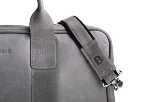 Skórzana torba męska na ramię BRODRENE BL01 szara