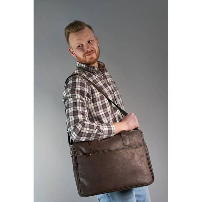Skórzana torba męska na ramię, laptop Brodrene BL12 ciemny brąz