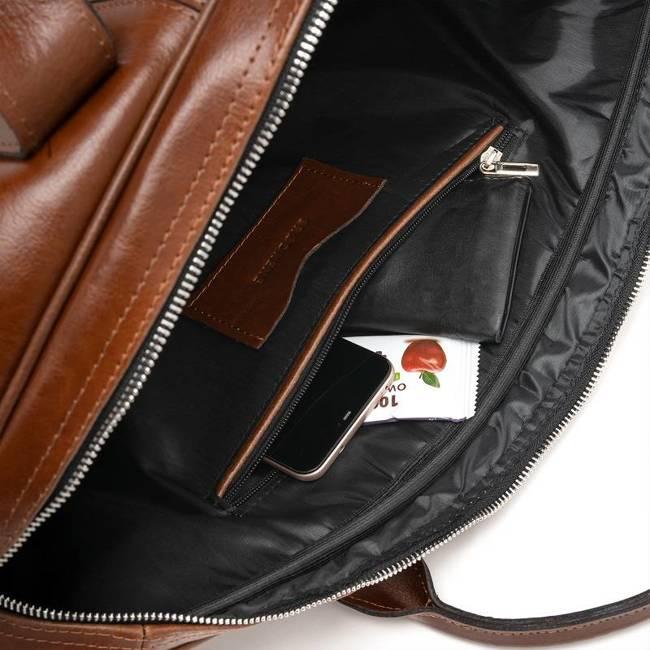 Skórzana torba męska podróżna BRODRENE R10 koniakowa