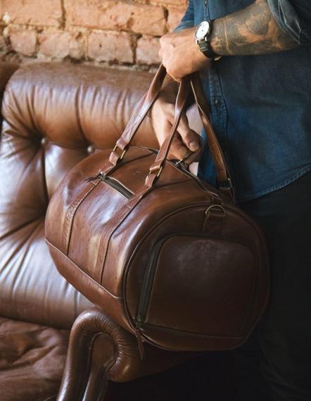 Skórzana torba męska weekendowa SOLIER SL19 Brandon vintage brąz