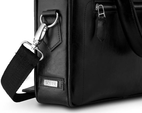 Skórzana torba na laptop z uchwytem na walizkę Solier SL23 czarna