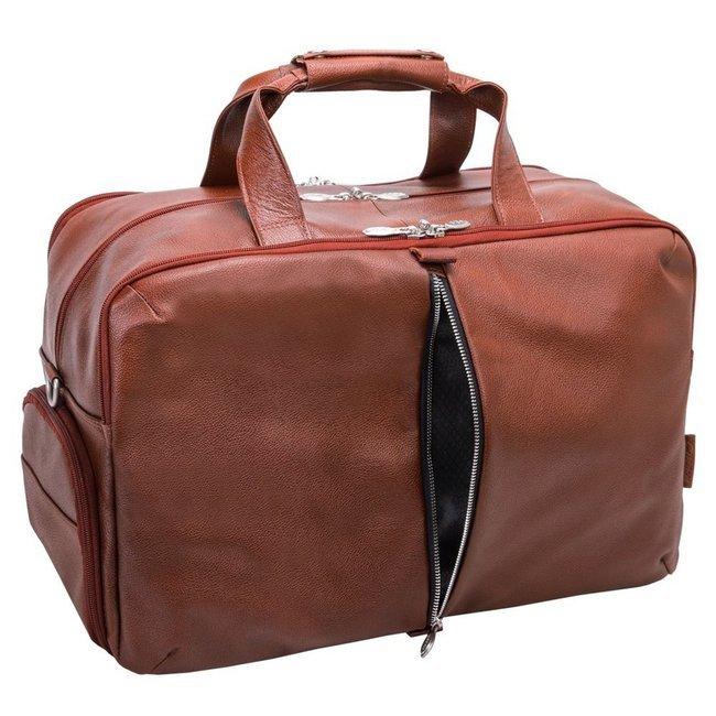 """Skórzana torba na laptopa McKlein Avondale 17"""" brązowa"""