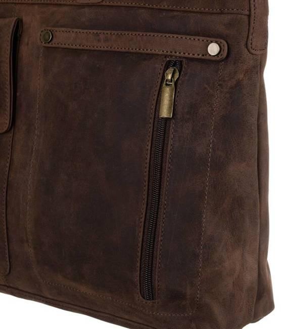 Skórzana torba na laptopa brązowa Badura LAP-15601-TGH-NL BRO