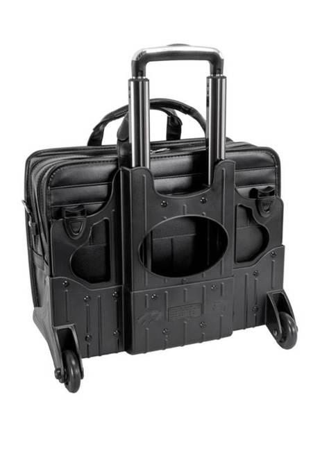 """Skórzana torba podróżna na laptopa 17"""" z odpinanym wózkiem Mcklein Franklin"""