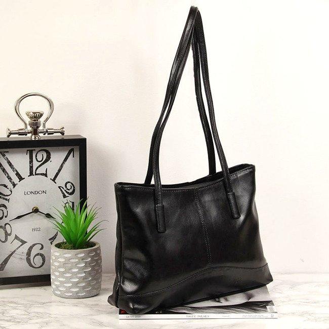 Skórzana torebka damska T433 czarna
