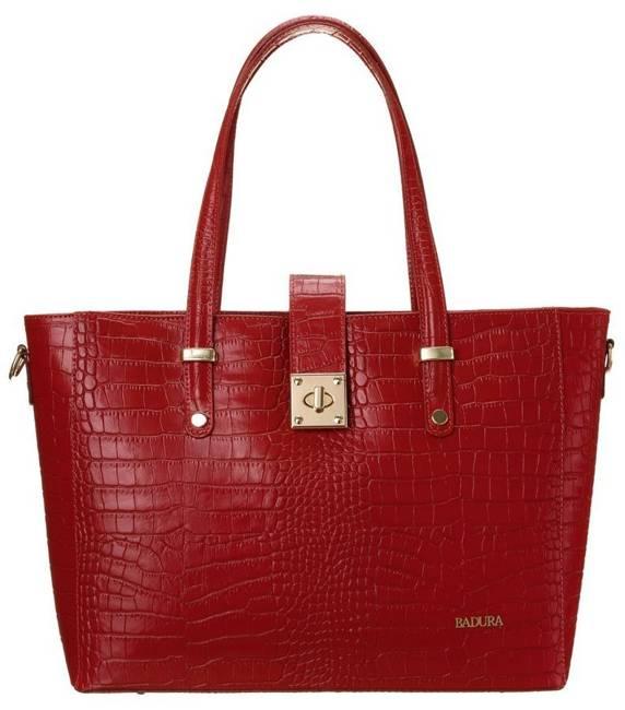 Skórzana torebka damska czerwona Badura T_D213CR_CD
