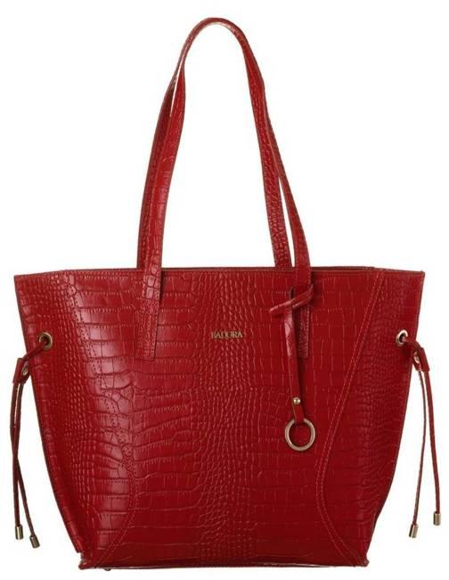 Skórzana torebka damska czerwona Badura T_D215CR_CD