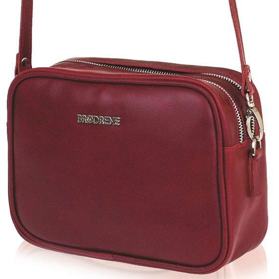 Skórzana torebka listonoszka damska Brodrene Bodo R101 czerwona