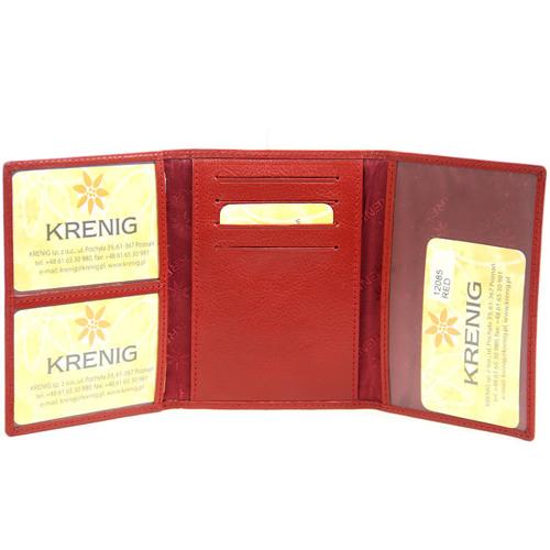 Skórzane etui na dokumenty KRENIG Classic 12085 czerwone