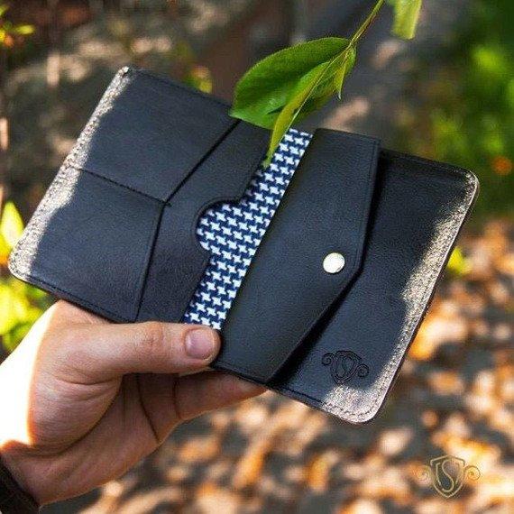 Skórzany Cienki portfel męski z bilonówką SOLIER SW15A SLIM czarny