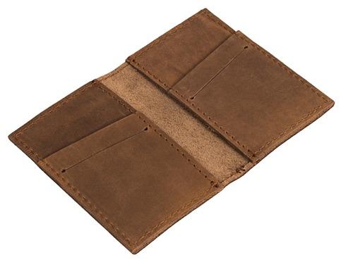 Skórzany cienki portfel + bilonówka BRODRENE SCW03 jasnobrązowy