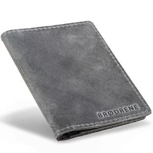 Skórzany cienki portfel slim wallet BRODRENE SW01 szary