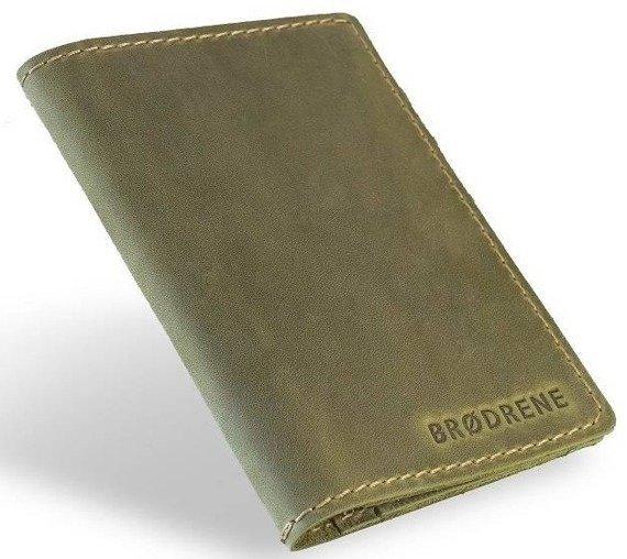 Skórzany cienki portfel slim wallet BRODRENE SW07 zielony