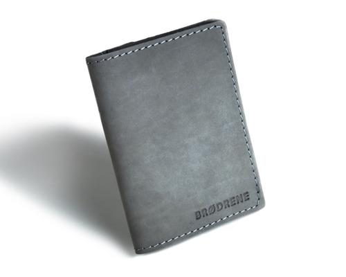 Skórzany cienki portfel slim wallet z bilonówką BRODRENE SW04 szary
