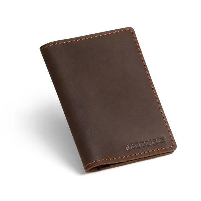 Skórzany cienki portfel slim wallet z miejscem na monety BRODRENE SW08 ciemnobrązowy