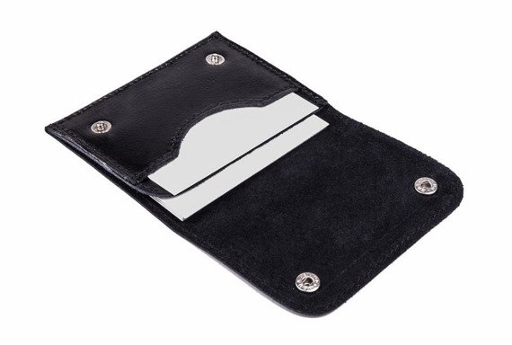 Skórzany cienki portfel wizytownik Solier SW18 czarny