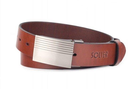 Skórzany elegancki pasek męski SOLIER SB12 ciemny brąz 90 cm