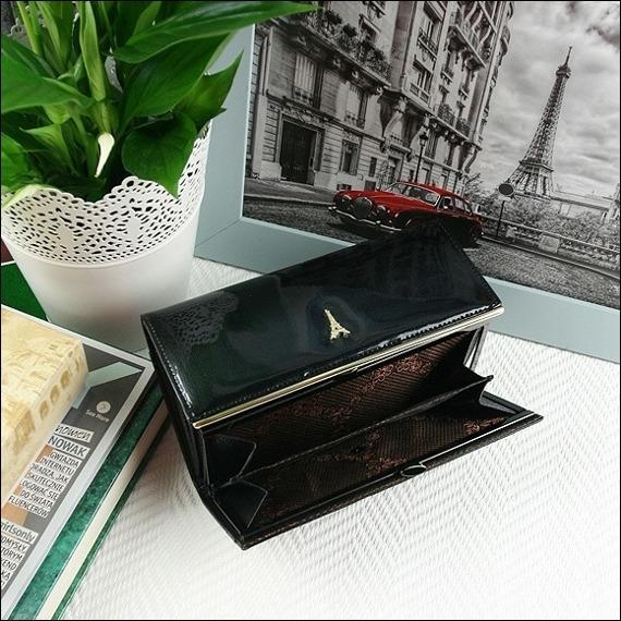Skórzany lakierowany portfel damski czarny Paris Design 72401