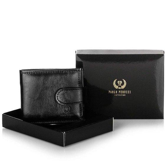 Skórzany mały portfel męski PAOLO PERUZZI GA171 brązowy