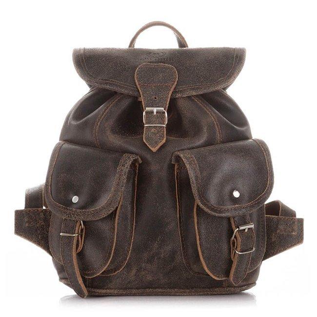 Skórzany plecak damski vintage j.brązowy PAOLO PERUZZI S-11-LB