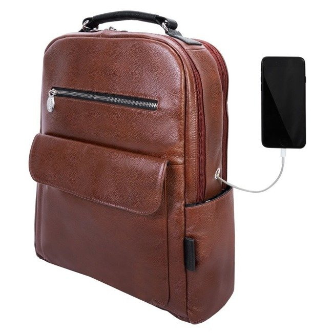 Skórzany plecak męski na laptopa McKlein Logan brązowy