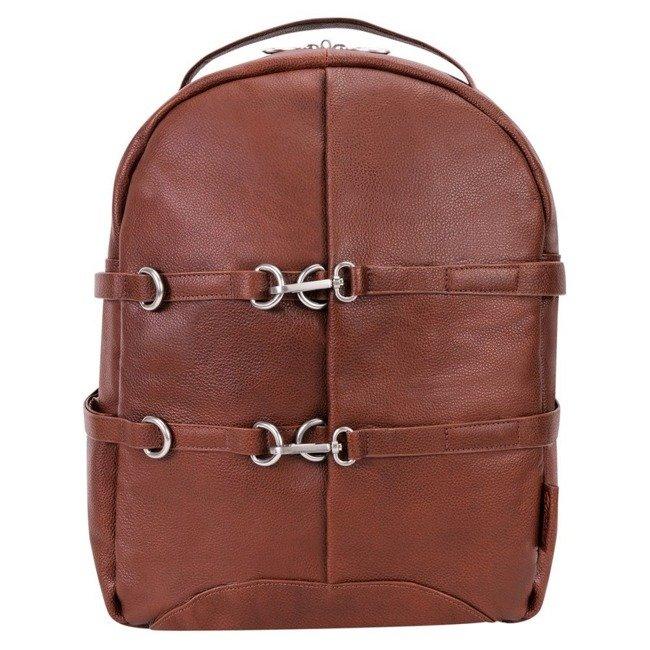 Skórzany plecak męski na laptopa McKlein Oakland brązowy