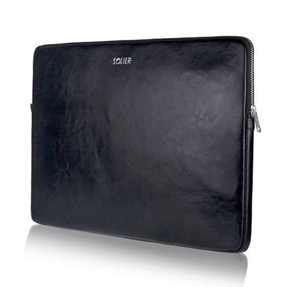 Skórzany pokrowiec etui na laptopa 13 cali Solier SA23 Czarny