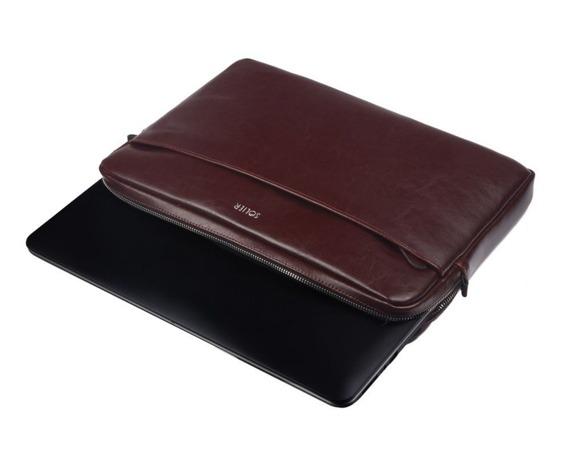 Skórzany pokrowiec etui na laptopa 15 cali Solier SA24A burgundowy