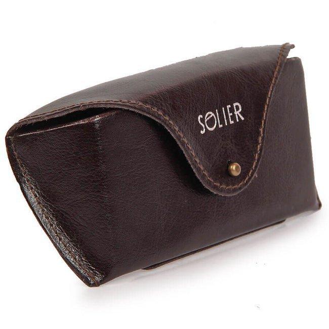 Skórzany pokrowiec, etui na okulary Solier SA20 brązowy