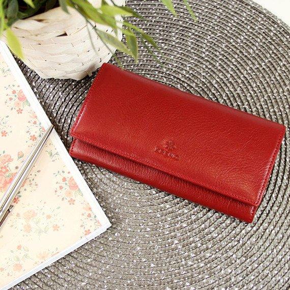 Skórzany portfel damski KRENIG Classic 12091 czerwony w pudełku