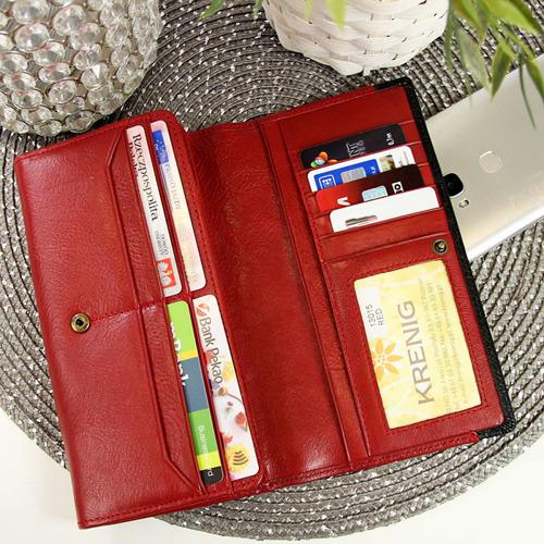 Skórzany portfel damski KRENIG Scarlet 13015 czerwony w pudełku