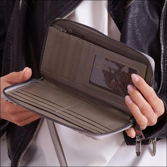Skórzany portfel damski szaro - czarny Forever Young 76119