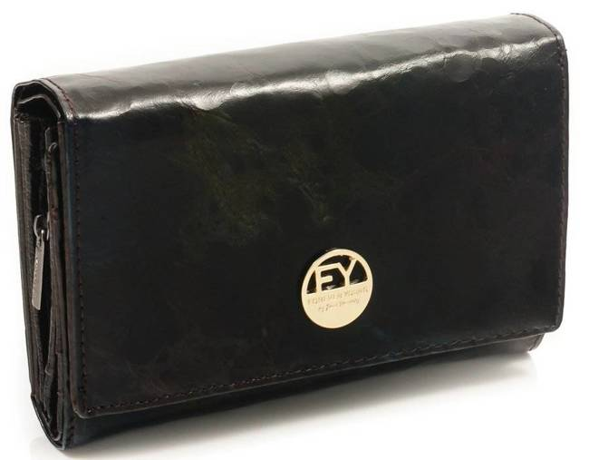 Skórzany portfel damski czarno - zielony Forever Young 76112