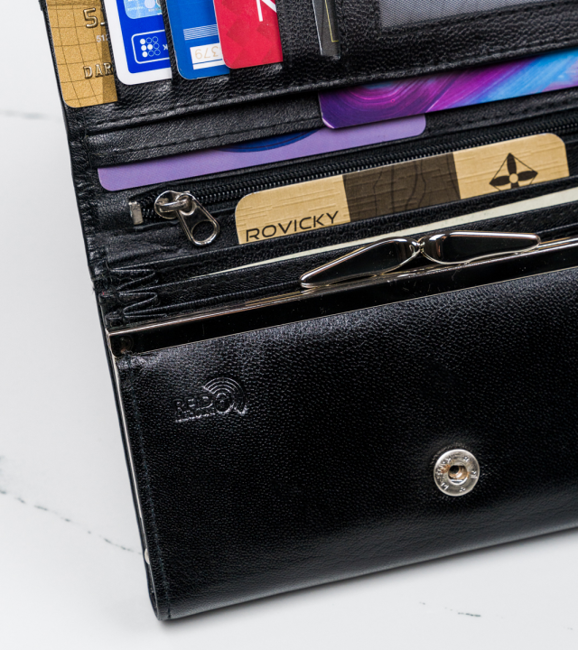 Skórzany portfel damski czarny 4U Cavaldi