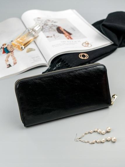 Skórzany portfel damski czarny RFID Rovicky