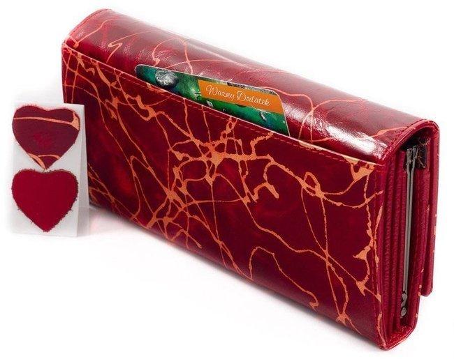 Skórzany portfel damski czerwony Lorenti 72401