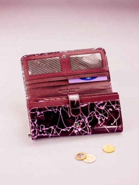 Skórzany portfel damski fioletowy Lorenti 1077