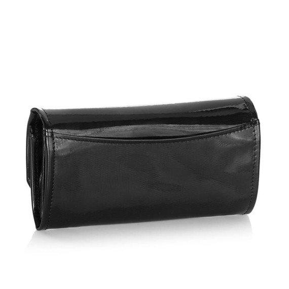 Skórzany portfel damski lakierowany Brodrene A-14 czarny